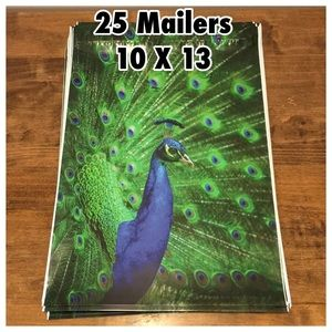 25 Peacock Flat Poly Mailers  (10 X 13)